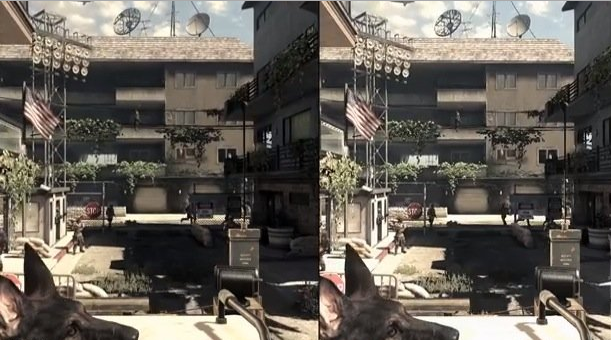 COD Ghosts (Left) PS4 1080p (Right) Xbox One 720p