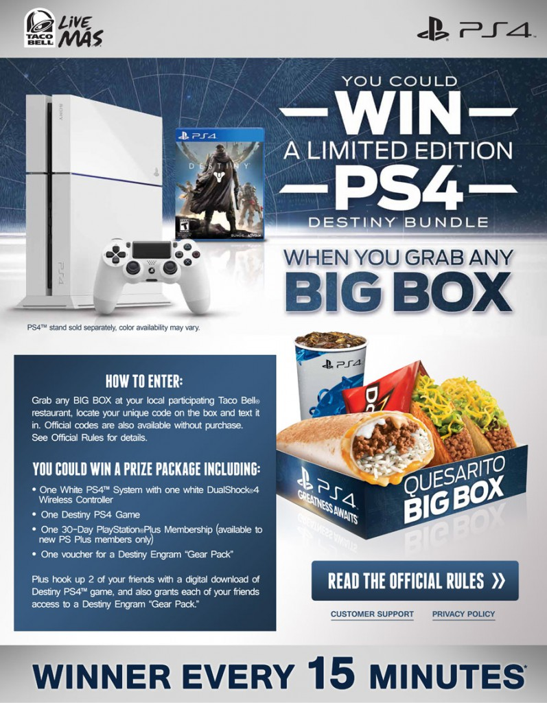 taco bell xbox one x giveaway taco bell ps4 giveaway win a limited edition ps4 destiny 6430
